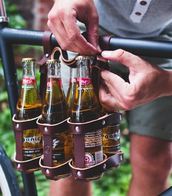 Leather Bicycle Beer Carrier